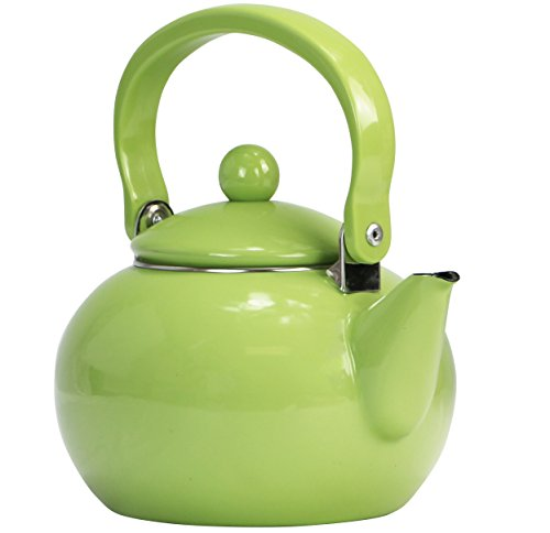Reston Lloyd Enamel Teakettle Non-Whistling, 2 Quart, Lime