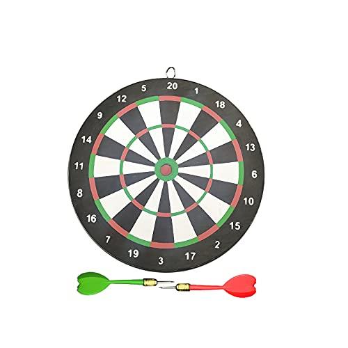EUROXANTY Set de cible avec fléchettes - Cible en bois - Jeu de deux faces - Comprend des fléchettes à pointe métallique - Jeu traditionnel - 22 cm