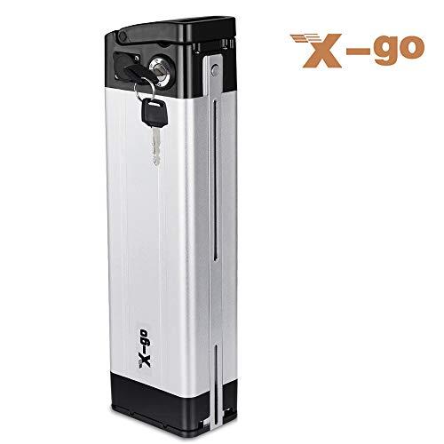 X-go Batteria agli ioni di Litio 24V 10Ah con Alimentatore e Blocco di Sicurezza per Biciclette elettriche Mountain Bike al Litio E-Bike(Escluso Il Caricabatterie)