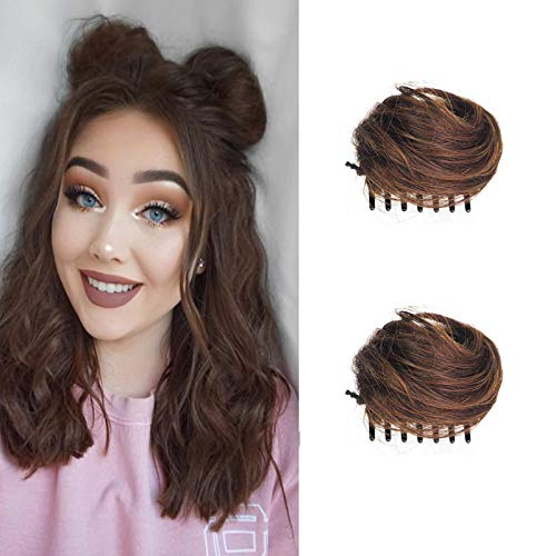 Clip-in Messy Bun Hair Piece, Messy Bun Hair Clip Extensions Wig Accessory for Women and Girls and Kids 2pcs Light brown