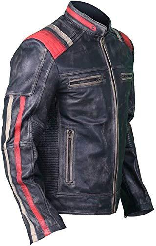 Elegance Leather Cafe Racer Jacke Vintage Motorrad Retro Moto Distressed Leder Jacket (L)