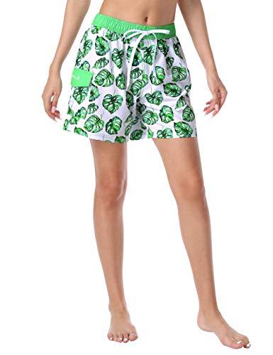 Nonwe Women's Swim Trunks Quick Dry Elastic Waist with Cargo Pocket Bathing Shorts Green&White 2XL