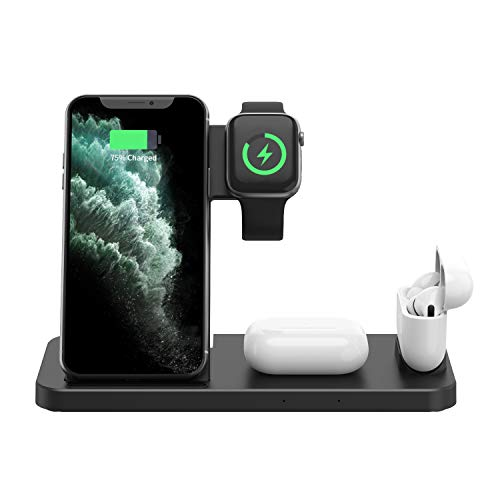 Cargador inalámbrico 4 en 1, soporte de carga magnética con certificación Qi compatible con iPhone 12/12 Pro/12 Pro Max función de carga inalámbrica, teléfono, Apple Watch y AirPods