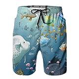 Towel&bag Pantalones cortos de natación para hombre, diseño de peces de acuario, con estampado 3D, divertidos baúles de playa hawaianos con bolsillos para verano, playa, vacaciones, M-XXL, blanco, XXL