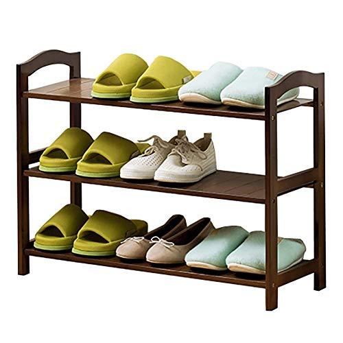 ZXL schoenenkast met 3 verdiepingen gemaakt van bamboe, eenvoudige en moderne schoenenkast in studentenstudent, halmeubels (afmeting: 70x25x50cm)