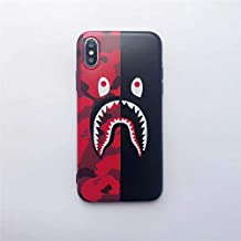 Monkey Head Shark Mouth Camo Phone Case for iPhone 6/6s/6p/6sp/7/7p/8/8p/X Protector (Red&Black Camo Shark, for iPhone 6/6S)