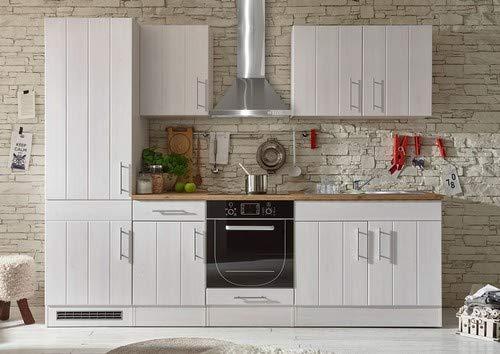 Stella Trading Küche Landhausstil 270 cm breit, Küchenblock ohne E-Geräte, Sibiu Lärche Nachbildung