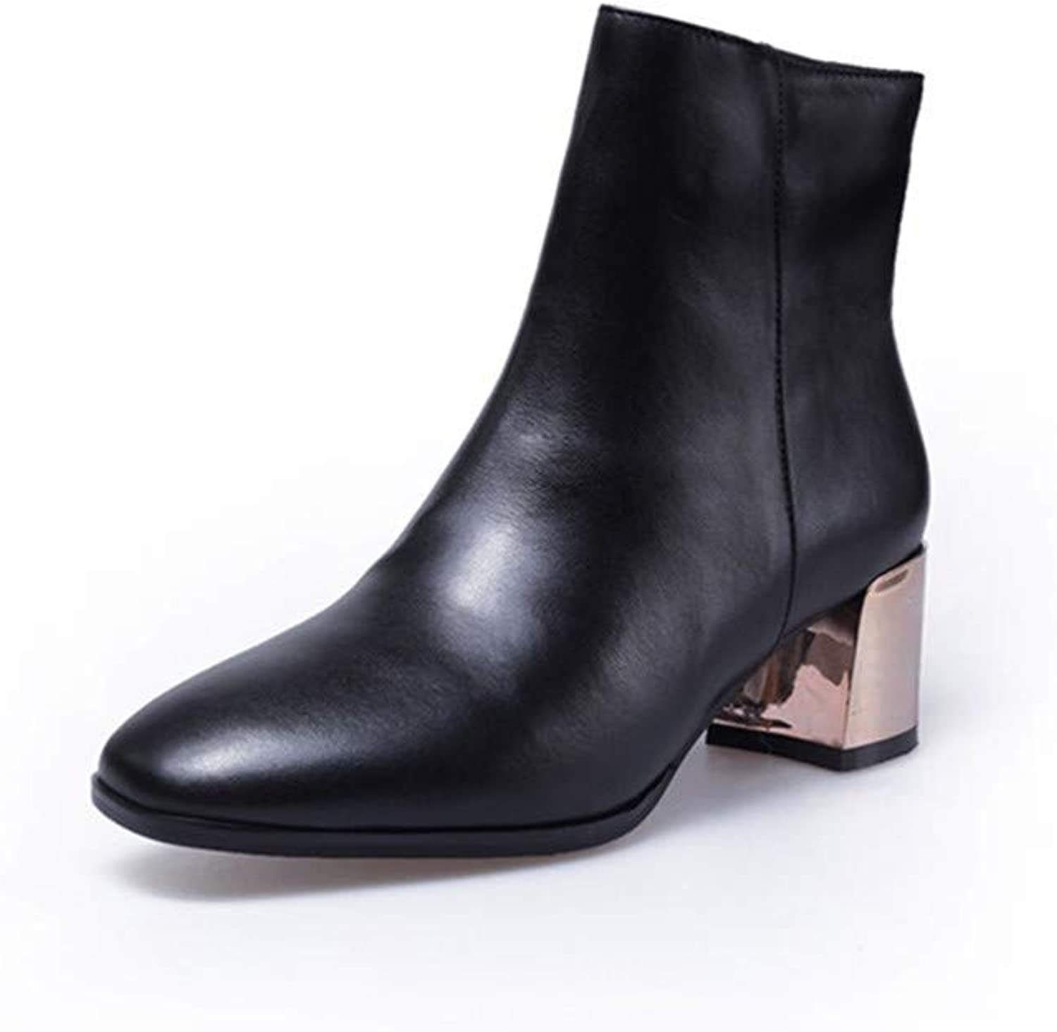 Nine Seven Genuine Leather Women's Round Toe Mid Chunky Glossy Heel Fashion Side Zip Handmade Concise Women Ankle High Boots