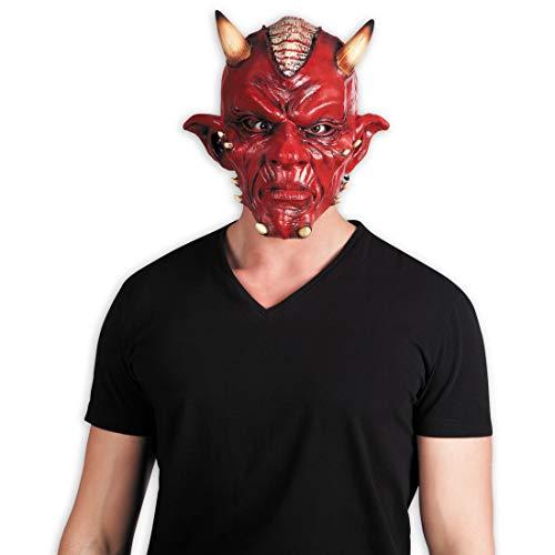 Amakando Diabolische Latexmaske Luzifer / Rot / Grusel-Maske Mephisto / EIN Highlight zu Gruselparty & Mittelalterfest