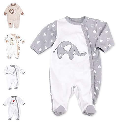 Baby Sweets Unisex Baby Strampler für Mädchen und Jungen/Baby-Overall in Weiß Grau als Schlafanzug und Babystrampler im Elefant-Motiv für Neugeborene und Kleinkinder in der Größe: 1 Monat (56)