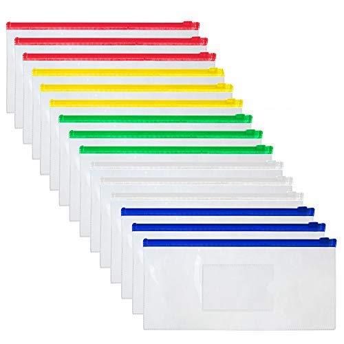 OFFICESHIP 15 PCSポリジッパー封筒ファイルホルダー透明A6 小切手サイズファイルバッグ ペンポーチペンシルケース5色 - 色込 - 1 ゼット/15点入り