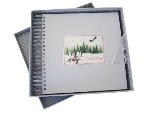 White Cotton Cards Carte de Noël souvenirs de sapins de Noël et Penguin Gamme Carte mémoire et livre