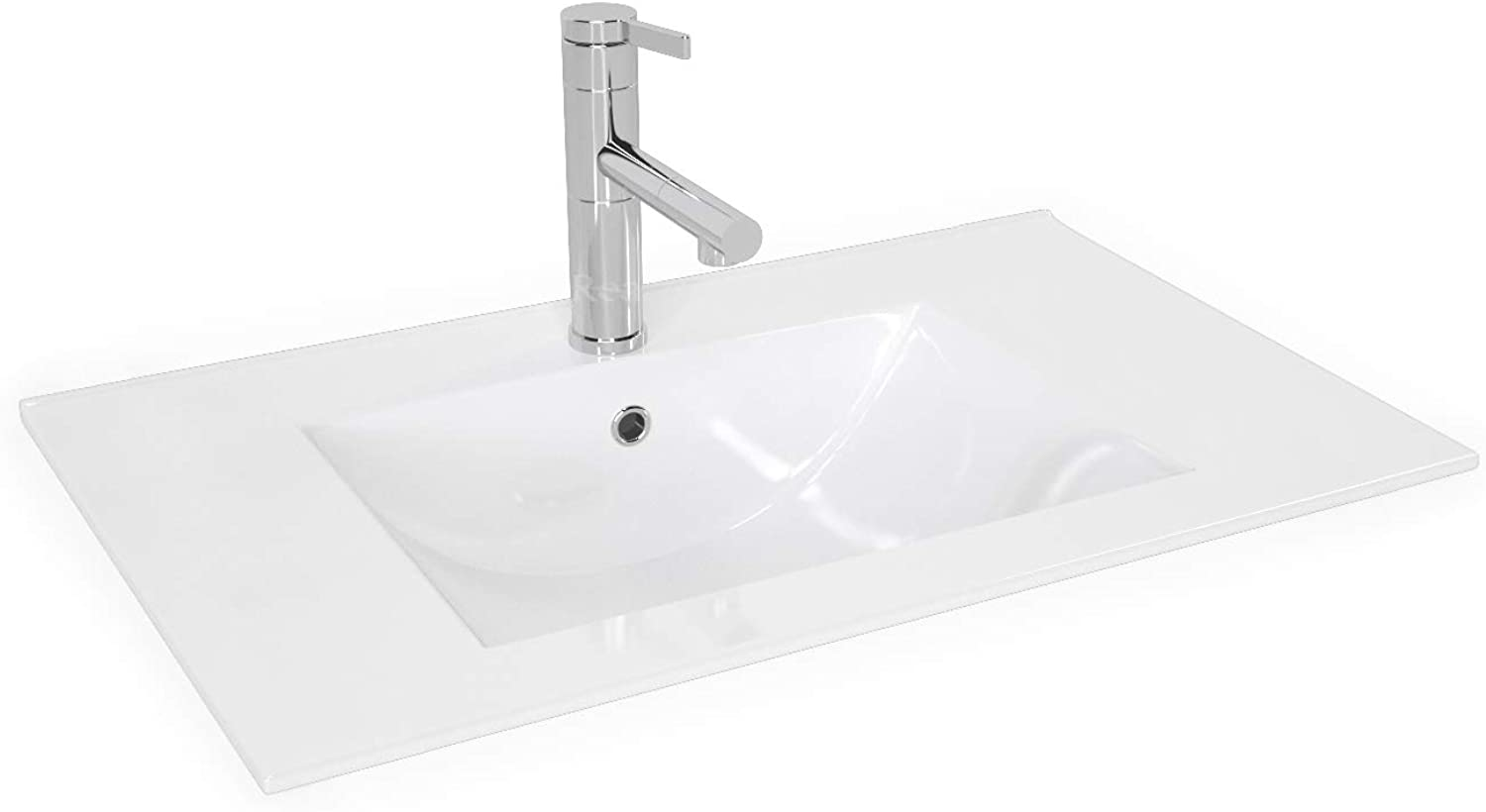 White Rectangular Ceramic Basin Bowl   Counter Top Vessel REA Dafne 70  with Overflow and Tap Hole (715 x 465 x 167 mm)