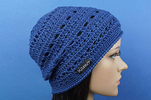 Sommer-Mütze VERONA blau Sommer-Beanie von siamo-handmade Baumwolle-Mix
