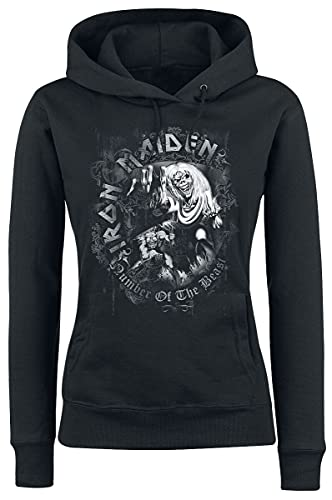 Iron Maiden Number of The Beast Donna Felpa con Cappuccio Nero L 80% Cotone, 20% Poliestere Regular