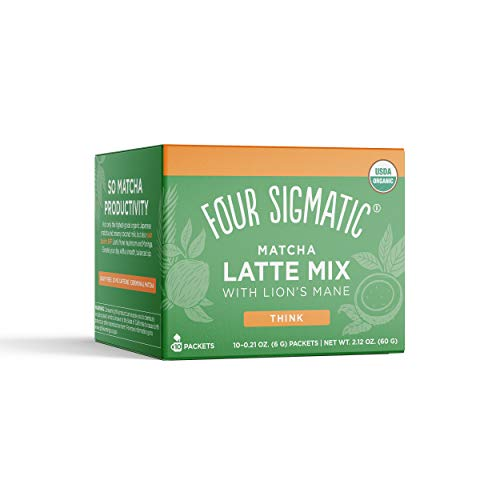 Four Sigmatic Matcha Latte, Organic Instant Matcha Latte Mix with Lion
