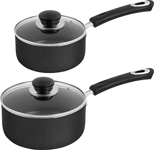 Utopia Kitchen Nonstick Saucepan Set - 1 Quart and 2 Quart - Glass Lid - Multipurpose Use for Home Kitchen or Restaurant (Grey-Black)