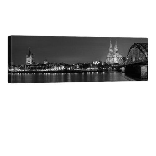 Schwarz Weiß Köln Cologne Bild auf Leinwand - Edler Köln Kunstdruck auf echter Leinwand, fertig aufgespannt auf hochwertigen Holzkeilrahmen - 120x40cm