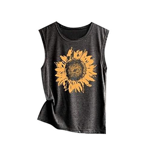 Andouy Damen Tank Top Print Ärmellose Weste mit Rundhalsausschnitt Camis Gr.36-40 Lose Bluse Shirt(XL(42),Dunkelgrau-Sonnenblume)