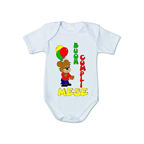 pazza idea Body Bianco Bambino Bambina Scritta Buon complimese Compleanno Mese Orsetto (6/12)
