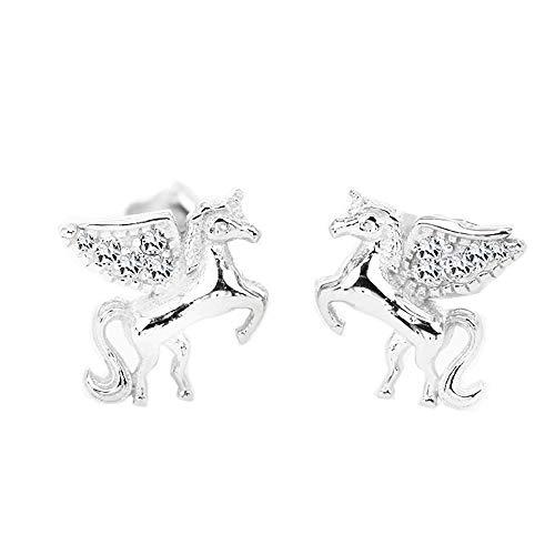 MixiuEuro - Pendientes de tuerca de plata de ley 925 con diseño de unicornio y circonitas cúbicas