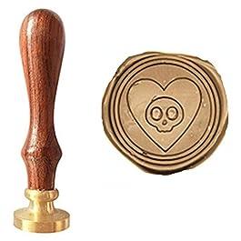 Vintage Skull in Love Heart Halloween Wedding Invitation Custom Picture Wax Seal Sealing Wood Handle Copper Head Stamp…