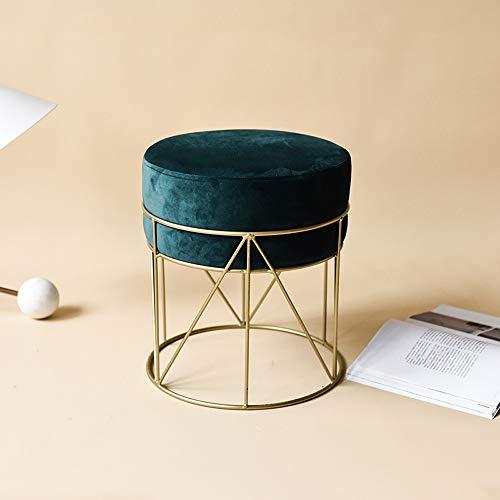 Funlea Moderner runder Flanell-Gewebe-weicher Make-upschemel-Stuhl-Goldpuff-gepolsterter Schemel-Eisen-Metallsofa-Schemel-Osmane-Kaffeetisch-Stuhl-Haushalts-Änderungs-Schuh-Bank-Sitz (Color : Green)