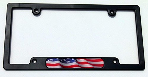 USA American flames Flag Black Plastic Car License plate frame domed decal