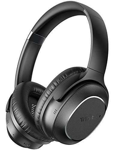 Tribit QuietPlus 72 - Cuffie wireless con cancellazione attiva del rumore, 32 dB, ibride attiva del rumore, CVC8.0, suono Hi-Fi, 30 ore di riproduzione, V5.0, pieghevoli per il lavoro in aereo
