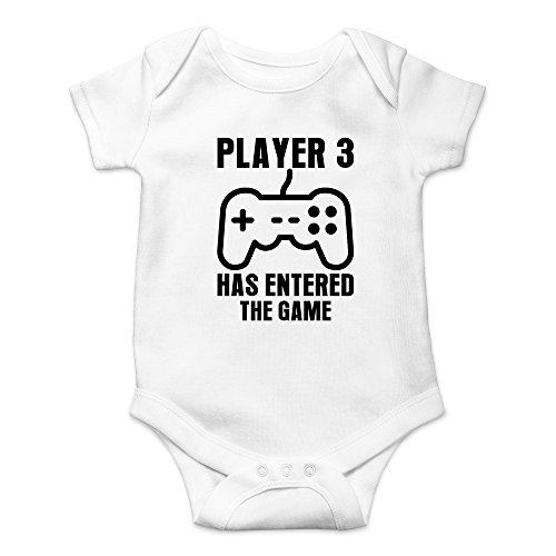 Crazy Bros Tee's Player 3 Has Entered The Game - Gamer Baby Funny Cute Novelty Infant One-Piece Baby Bodysuit (6 Months, White)