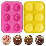 BUSHIBU Chocolate Bomb Mold, 2 Pack 6 Holes Sphere Silicone Mold for DIY Baking, Hot Chocolate...