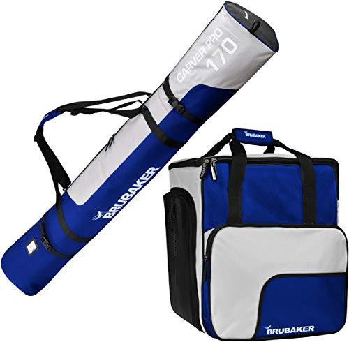 Brubaker Kombi Set Skisack und Skischuhtasche für 1 Paar Ski bis 170 cm + Stöcke + Schuhe + Helm Blau Silber