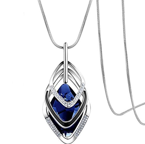Gexo Solid Long Chain Necklace for Women Created Crystal Sweater Triple Stack Pendant Necklace-Blue Fashion Jewelry
