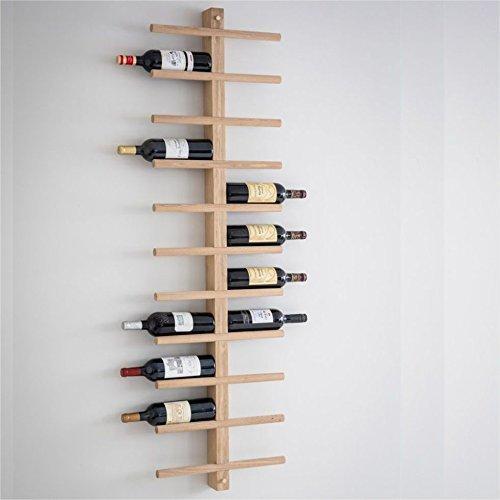 Ckb Ltd, porta bottiglie deluxe da parete, per 22bottiglie di vino, rastrelliera in legno di quercia, da mettere in cucina