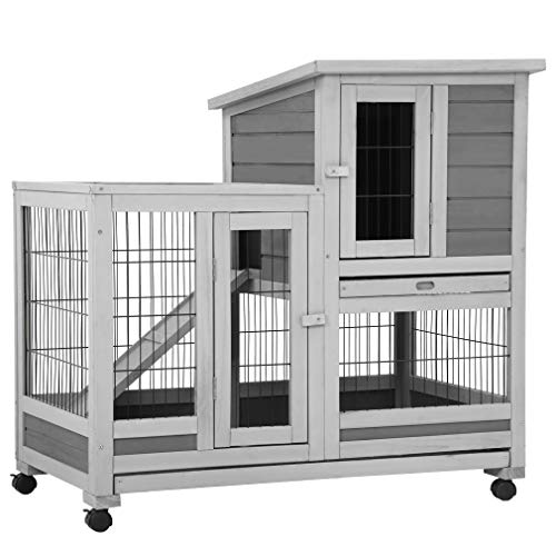 37 Inch Wood Rabbit Hutch Rabbit Cage Bunny Hutch Rolling Large Bunny Cage Indoor Outdoor Two Story Guinea Pig Hamster Hutch Rabbit House with Wheels