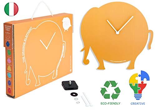 Round Animals Design The Orange Elephant - Orologio Elefante Arancione da Parete – Valigia in Cartone per Bambini - Decorazione Cameretta Animali - Idee Regalo Compleanno Bambini