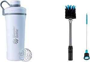 BlenderBottle Radian Shaker Cup Insulated Stainless Steel Water Bottle with Wire Whisk, 26-Ounce, Matte White & 2-in-1 Bottle and Straw Cleaning Brush