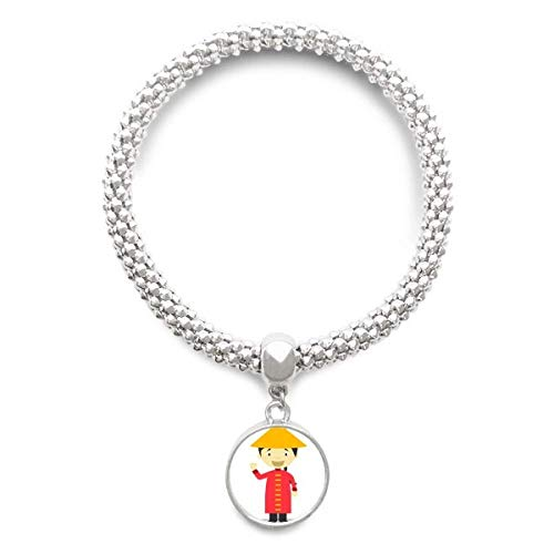 DIYthinker Damen Rot langes Kleid China Karikatur-Splitter Armband Laufende hängende Schmuckkette