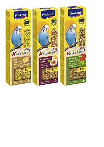 Vitakraft- Kräcker 3St. Vogel für Sittiche je 1x Kräuter + Paprika, Ei + Grassamen, und Aprikose + Feige WS (1,66/Pack)