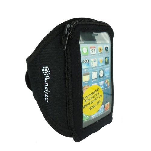 Runalyzer 593110 - Brazalete de silicona para iPhone5/iPod Touch 5 (talla M/L), color negro