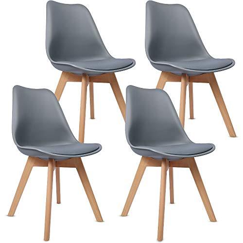 Sillas de comedor, Conjunto de 4 sillas, sillas sin brazos con patas de madera y Asiento Acolchado suave, para comedor,oficina, estilo nórdico