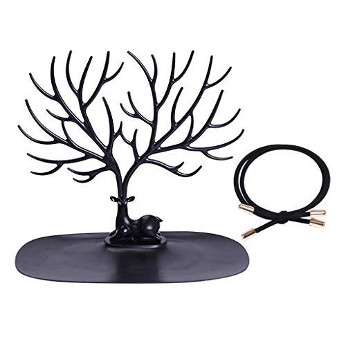 LIHAEI Schmuckbaum aus Kunststoff Geweih, Hirschkopf Schmuckständer für Ketten Ohrringe Ringe - Deko Schmuck Aufbewahrung - Moderner Stil Ständer (Schwarz)