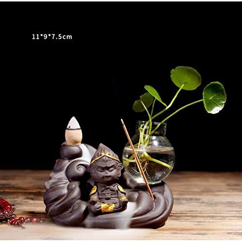TWGDH Cute Monkey Backflow Incense Burner Glas Blumentopf Pflanzgefäß Ceramic Smoke Waterfall Incense-B