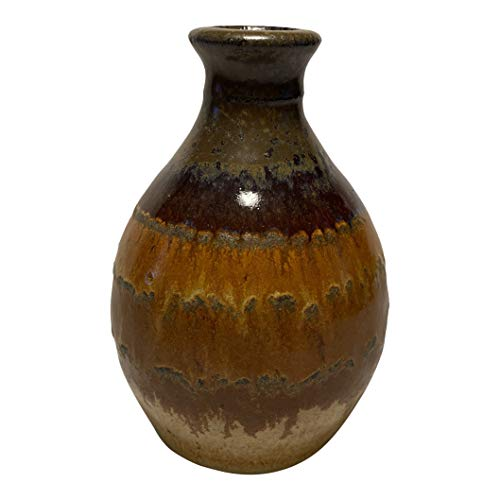 Integrity1 Flower Bud Vase Rustic Home Decor - Handmade Ceramic Stoneware Pottery for Living Room, Kitchen, Office, Dining Room Table, Bedroom - Farmhouse Decor (Brown-Beige)