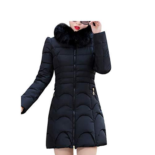 LQQSTORE Warm Wintermantel Damen Mäntel, Oversize Down Winterjacke Lang Coat Winterkleidung Parka Mode Kapuze Sweatjacke Trench Coat Hoodie Pullover Thick Outwear mit Taschen (Schwarz, L)