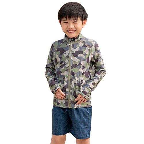 RINNE(リンネ)[グリーンカモ,160]ラッシュガードキッズジュニア子供スタンドカラー110~160サイズ水着長袖UVカットUPF50+吸汗速乾男の子女の子