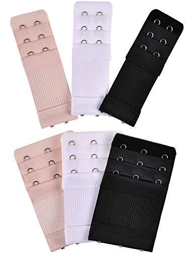 Bememo 6 Stück Damen BH Extender Elastische Stretchy BH Extension Strap, 3 Farben (3 Reihen x 3 Haken, 3 Reihen x 2 Haken)