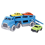 Green Toys Car Carrier Vehicle Set Toy, Blue Unloading Cars