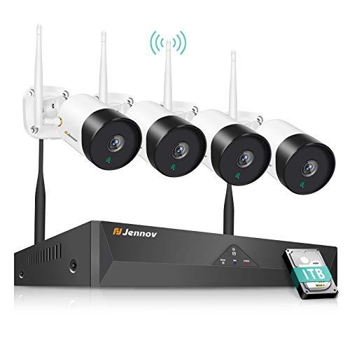 Jennov Überwachungskamera Aussen WLAN Set Drahtlos NVR System Funk Überwachungsset mit 1TB Festplatte 5.0MP Kabellose Netzwerk Außen IP Überwachungskamera