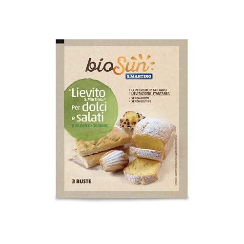BIOSUN - Lievito Biologico a Lievitazione Istantanea, ideale sia per Dolci che per Salati, con Cremor Tartaro Naturale, 3 Buste da 16 g l'una, 48g tot, Senza Glutine, Vegano, Made in Italy